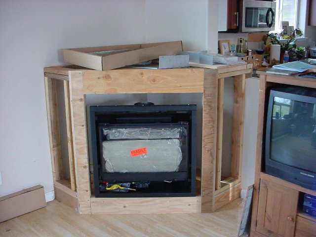 Sheetrock around a gas fireplace fireplaces for Building a corner fireplace
